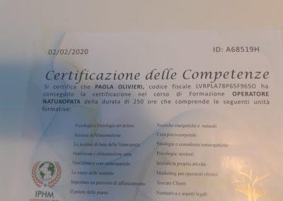 L'Altro Benessere certificato operatrice naturopatia